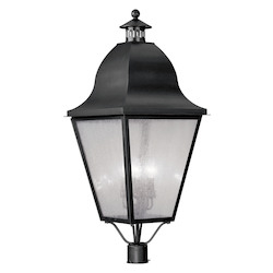 Livex Lighting Black 4 Light 240W Post Light With Candelabra Bulb Base And Seeded Glass