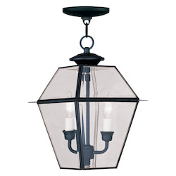 Livex Lighting Black Framed Glass Foyer Hall Fixture