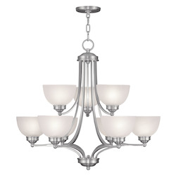 Livex Lighting Brushed Nickel 9 Light 900 Watt Two Tier Up Lighting Chandelier With Satin Glass