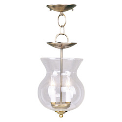 Livex Lighting Antique Brass Home Basics 2 Light Semi-Flush Ceiling Fixture