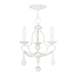 Livex Lighting Three Light Antique White Up Mini Chandelier