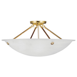 Livex Lighting Polished Brass Bowl Semi-Flush Mount