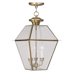 Livex Lighting Antique Brass Westover Outdoor Pendant With 3 Lights