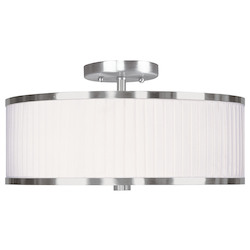 Livex Lighting Brushed Nickel Park Ridge 3 Light Semi-Flush Ceiling Fixture