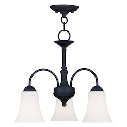 Livex Lighting Black Ridgedale 13.5 Inch Tall Down Lighting 1 Tier Chandelier With 3 Lights