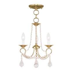 Livex Lighting Three Light Polished Brass Up Chandelier