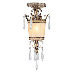 Livex Lighting Vintage Gold Leaf Foyer Hall Semi-Flush Mount