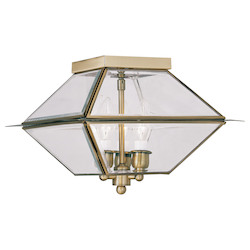 Livex Lighting Antique Brass Westover 3 Light Outdoor Semi-Flush Ceiling Fixture