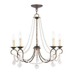Livex Lighting Five Light Venetian Golden Bronze Up Chandelier