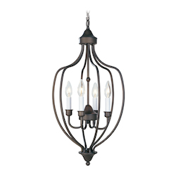 Livex Lighting Bronze 4 Light 240W Foyer Pendant With Candelabra Bulb Base