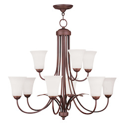 Livex Lighting Vintage Bronze Up Chandelier