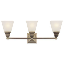 Livex Lighting Antique Brass Mission 3 Light Bathroom Vanity Light