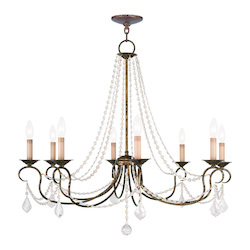 Livex Lighting Eight Light Venetian Golden Bronze Up Chandelier