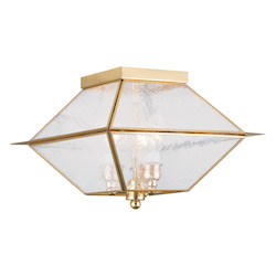 Livex Lighting Three Light Polished Brass Cage Flush Mount