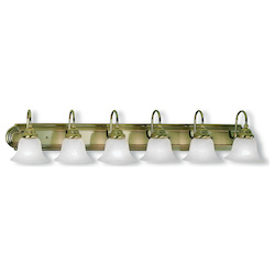 Livex Lighting Antique Brass Belmont 6 Light Bathroom Vanity Light