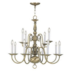 Livex Lighting Antique Brass 12 Light 720W Chandelier With Candelabra Bulb Base