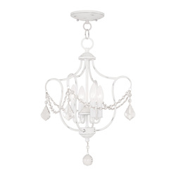 Livex Lighting Four Light Antique White Up Chandelier