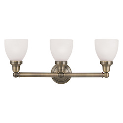 Livex Lighting Antique Brass Classic 3 Light Bathroom Vanity Light