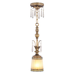 Livex Lighting Vintage Gold Leaf Down Mini Pendant