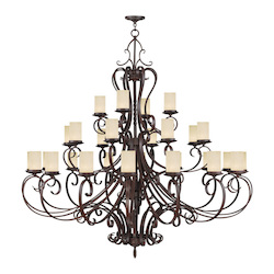 Livex Lighting Imperial Bronze Millburn Manor 24 Light 3 Tier Chandelier