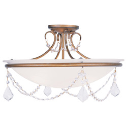 Livex Lighting Antique Gold Leaf Bowl Semi-Flush Mount