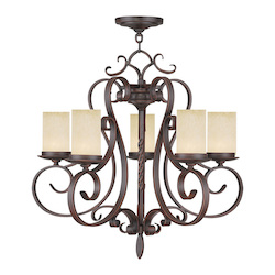 Livex Lighting Imperial Bronze Millburn Manor 5 Light 1 Tier Chandelier