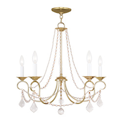 Livex Lighting Five Light Polished Brass Up Chandelier
