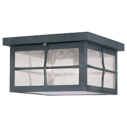 Livex Lighting Hammered Charcoal Finish Outdoor Flush Mount