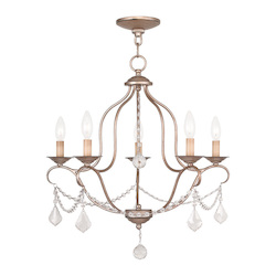 Livex Lighting Five Light Antique Silver Leaf Up Chandelier