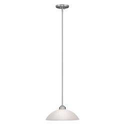 Livex Lighting Brushed Nickel 1 Light 100 Watt Adjustable Height Foyer Pendant With Satin Glass