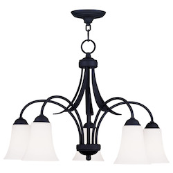 Livex Lighting Black Ridgedale 17.75 Inch Tall Down Lighting 1 Tier Chandelier With 5 Lights