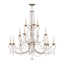Livex Lighting Sixteen Light Antique Silver Leaf Up Chandelier