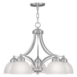 Livex Lighting Brushed Nickel 5 Light 500 Watt Island / Billiard Fixture With Satin Glass