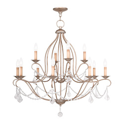Livex Lighting Twelve Light Antique Silver Leaf Up Chandelier