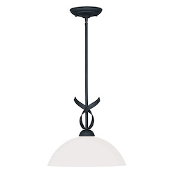 Livex Lighting Black Brookside Down Lighting Pendant With 1 Light