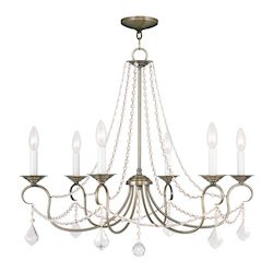 Livex Lighting Antique Brass Pennington 6 Light 1 Tier Chandelier