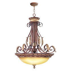 Livex Lighting Verona Bronze 4 Light 400W Pendant With Medium Bulb Base And Rustic Art Glass