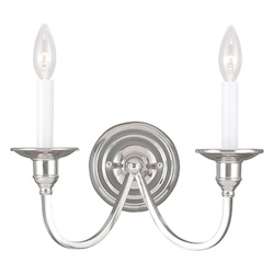Livex Lighting Two Light Polished Nickel Wall Light