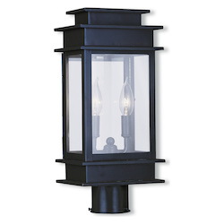 Livex Lighting Bronze 2 Light 120 Watt Outdoor Post Light With Clear Glass