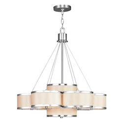 Livex Lighting Brushed Nickel Park Ridge 7 Light 1 Tier Chandelier