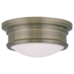 Livex Lighting Antique Brass 4.5 Inch Tall Flush Mount Ceiling Fixture With 2 Lights