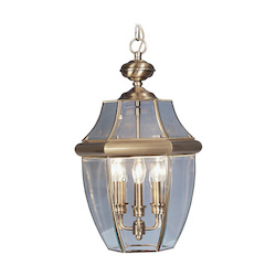Livex Lighting Antique Brass Monterey 3 Light Outdoor Pendant