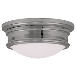 Livex Lighting Chrome Drum Shade Flush Mount
