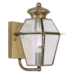 Livex Lighting Antique Brass Westover Small Outdoor Wall Sconce With 1 Light