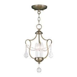 Livex Lighting Three Light Antique Brass Up Chandelier