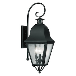Livex Lighting Black Amwell Large Outdoor Wall Sconce With 3 Lights