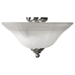 Livex Lighting Brushed Nickel Bowl Semi-Flush Mount
