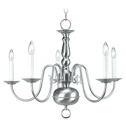 Livex Lighting Brushed Nickel 5 Light 300W Chandelier With Candelabra Bulb Base