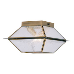 Livex Lighting Antique Brass Mansfield 2 Light Semi-Flush Ceiling Fixture