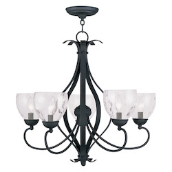 Livex Lighting Black Brookside Clear Water Glass Up Lighting 1 Tier Chandelier With 5 Lights